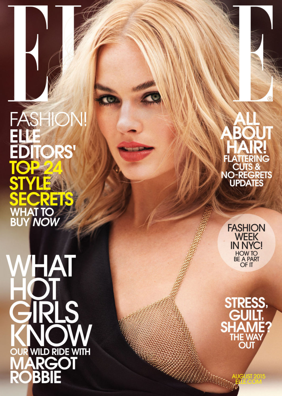 Elle Magazine August 2015 Cover Girl Margot Robbie